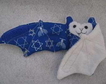 Jewish Hanukkah Blue Faux Fur Bat Coffee Cozy, Cup Sleeve, Stuffed Animal