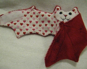 Mini Hearts on White on Red Faux Fur Valentines
