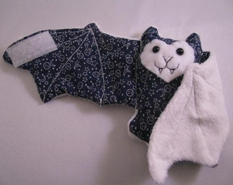 Dark Blue with white comical stars and moons on White Faux Fur - Bat Coffee Cozy, Cup Sleeve, Stuffed Animal