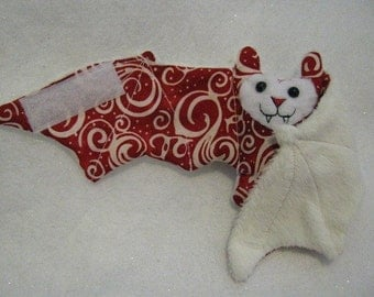 Red and White Batik Bat Stuffed Animal, Coffee Cozy, Cup Sleeve