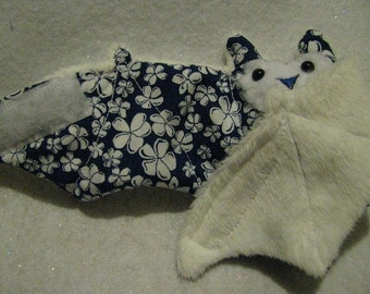 Hibiscus Hawaiian Navy bat on white faux fur - stuffed animal, toy, coffee cozy, cup sleeve