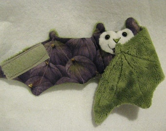 Figs on Purple and Green - Bat Stuffed Animal, Coffee Cozy, Cup Sleeve