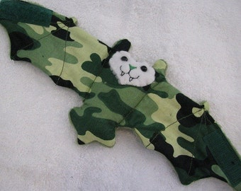 Camo Bat Stuffed Animal, Coffee Cozy, Toy, Cup Sleeve