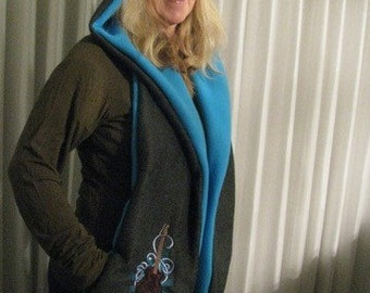 Fleece Applique Guitar and Music Theme - Hooded Scarf with pockets