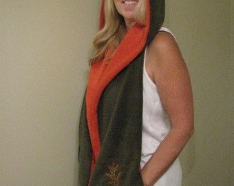 Fall Leaves Rusty Orange and Olive Green Hooded Scarf with pockets