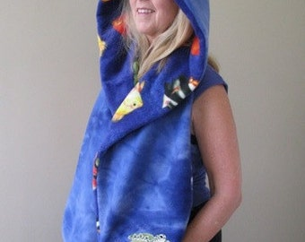 Sea Turtle Hooded Scarf with Pockets