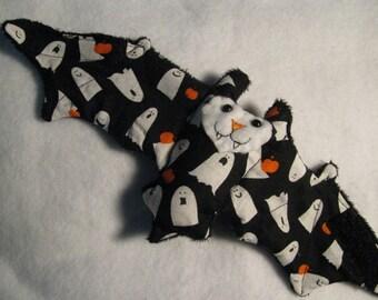 Boo Ghost and Pumpkin Themed Bat Stuffed Animal, Coffee Cozy, Cup Sleeve