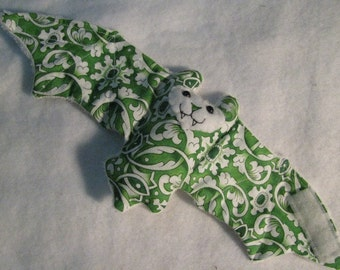 Green and White Bat Coffee Cozy, Cup Sleeve, Stuffed Animal