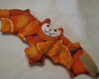 Oranges on Orange Faux Fur - Bat Stuffed Animal, Coffee Cozy, Cup Sleeve