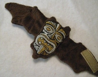Tiki Mask Embroidered Bat Coffee Cozy, Cup Sleeve, Stuffed Animal, Decoration