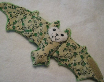 Green and Tan Floral Bat Coffee Cozy, Cup Sleeve, Stuffed Animal