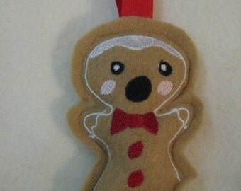 Bitten Gingerbread Man Cookie Ornament and Pin Cushion