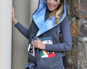 Winter Penguin Scenes Hooded Scarf with Pockets