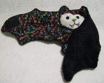 Mardi Gras Bat - Confetti and Black Faux Fur