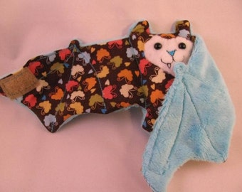 Mini Colorful Butterflies on Blue Faux fur - Bat Cup sleeve\/Stuffed Animal\/ Coffee Cozie