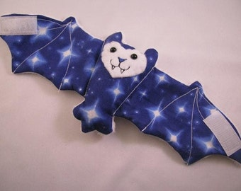 Moon and Stars Comic Style Bat Coffee Cozy, Stuffed Animal, Cup Sleeve