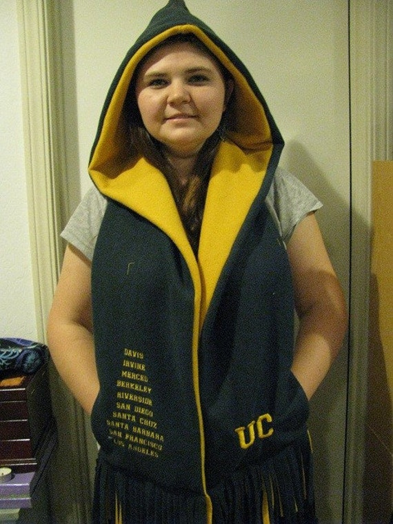 University of California School Names Hooded Scarf with pockets