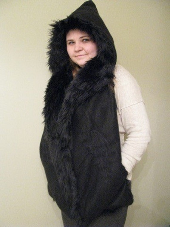Luxurious Black Faux Fur Raven Devil or Angel Wing Hooded Scarf with Pockets