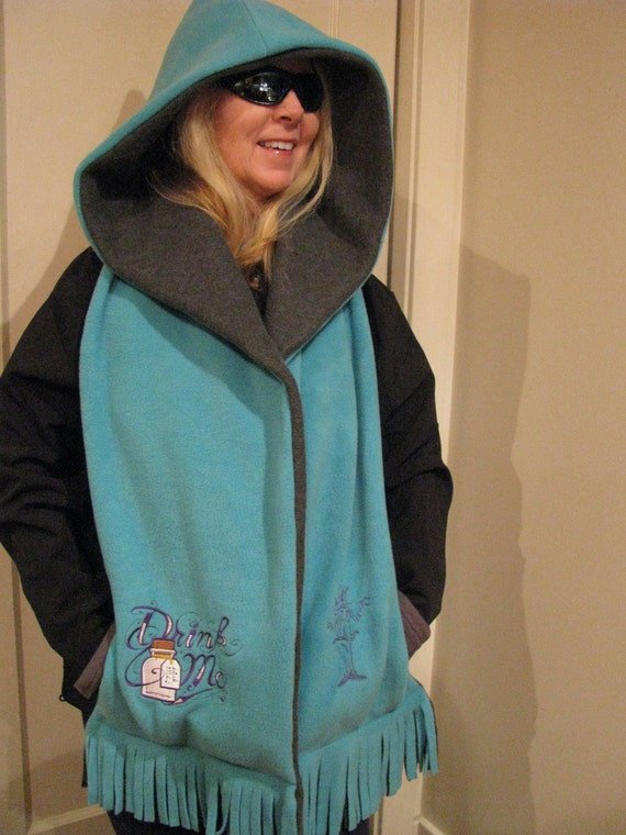 Alice in Wonderland Hooded Scarf with Pockets - Turquoise and Gray