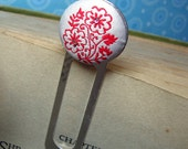 fabric embellished silver plated bookmark - red on grey floral
