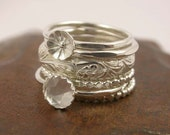 Reserved Listing - Stacking Rings - Mothers Ring - Sterling Silver Stack of 5 Rings - Customizable