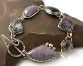 1 Day Only SALE - Amethyst Sage Onyx Burro Creek Royal Aztec Lace Cabochon Multi Stone Linked Bracelet