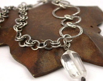 Hand Stamped Sterling Links with Rock Crystal Pendant - Made to Order