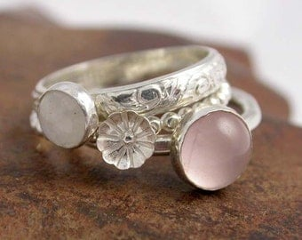 Simply Rosey Stackers - Sterling Silver and Stone Stacking Rings - Made to order - Silver Stacking Rings