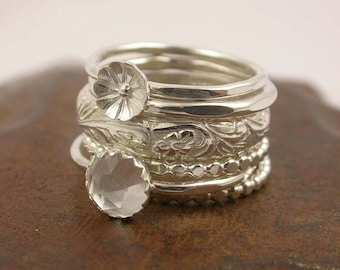 Stacking Rings - Mothers Ring - Sterling Silver Stack of 5 Rings - Customizable