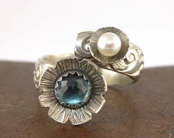 London Blue Topaz Ring - Gemstone Bypass Wrap Pearl and Sterling Silver Flower Floral
