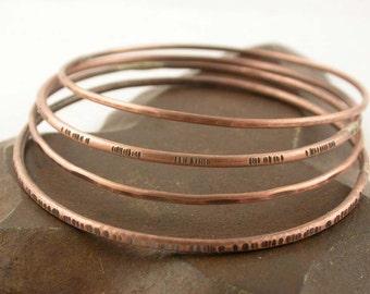 Copper Bangle Bracelets - Set of Four