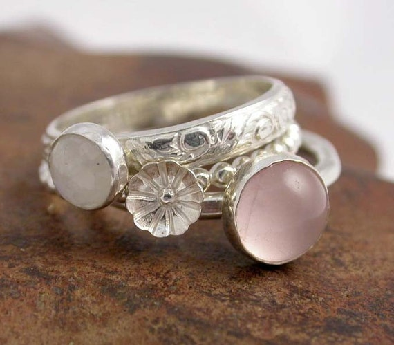 Simply Rosey Stackers - Sterling Silver and Cabochon Stacking Rings - Made to order