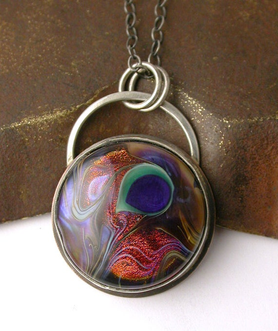 Lampwork Peacock Bead Pendant with Sterling Chain