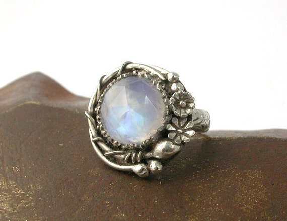 Moonstone and Sterling Silver Vine and Flower Ring