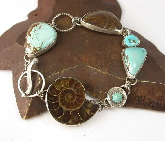 Ammonite Fossil Koroit Boulder Opal and Turquoise Cabochon Multi Stone Linked Bracelet