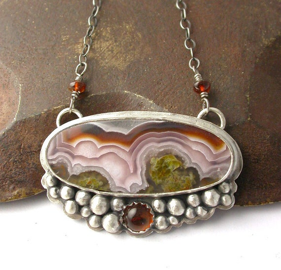 Custom Order for Lauren - Agua Nueva Agate and Amber Necklace