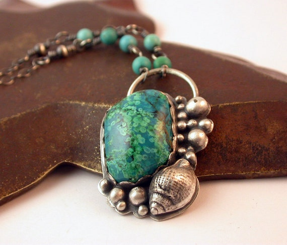 Reserved - Chrysocolla and Malachite Necklace and Earrings