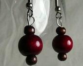Red Wooden Bead Dangle Earrings