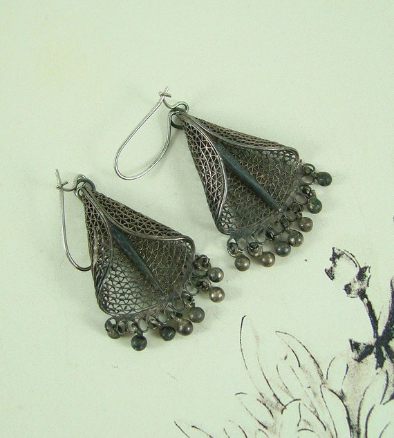 REDUCED Antique Silver Filigree Dangle Earrings