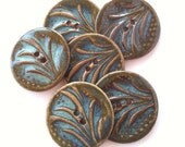 Brown and Aqua Blue Stoneware Buttons
