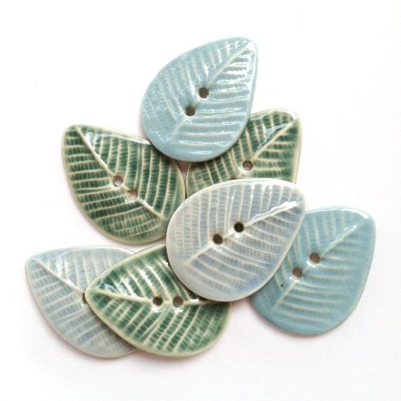 Leaves in Blues Porcelain Button Assortment
