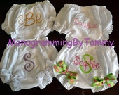 Set of FOUR Personalized Embroidered Monogrammed Diaper Cover Panty Cover Fancy Pants Bloomers (2 with ribbon bows and 2 no bows)