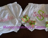 SET OF TWO Personalized Monogrammed Embroidered Diaper Panty Cover Fancy Pants Bloomers (one with ribbon and one plain)