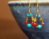TO HAVE AND TO HOLD earrings featuring Amber, Magnesite, and Agate (Reserved for Mirandia)