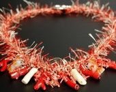 CORAL CREATION Fuzzy Necklace featuring Red Agate Carved Fish, Red and Bone colored Stick Coral