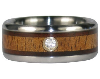 Mens Wedding Band Diamond Titanium Ring with Hawaiian Milo and Koa Wood
