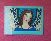 Folk Art Angel Blank Greeting Card All Occassion