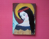 Folk Art Angel Reproduction Print Mounted on Wood Block
