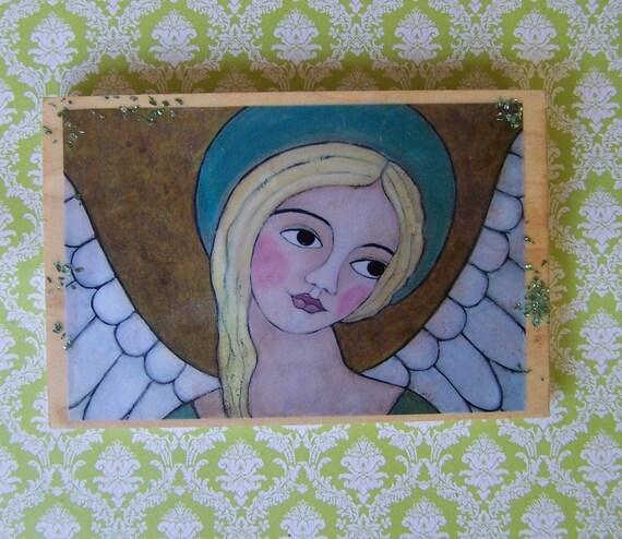 Angel Encaustic Woodblock Print Reproduction painting