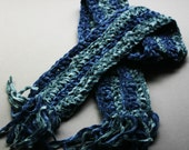 Chenille Scarf Blue Strips